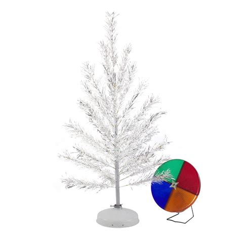 retro aluminum christmas tree with color wheel light