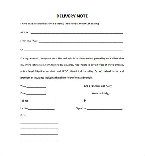 standard shipping note template 25 delivery note templates pdf doc free premium