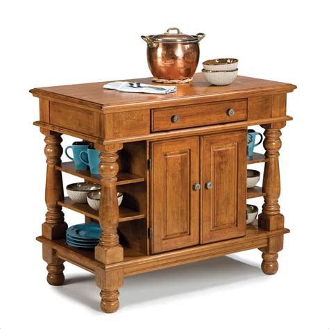Oak Kitchen Carts And Islands - home styles americana island distressed cottage oak finish kitchen cart ebay