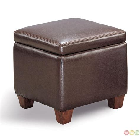 faux leather casual cube shaped design storage ottoman