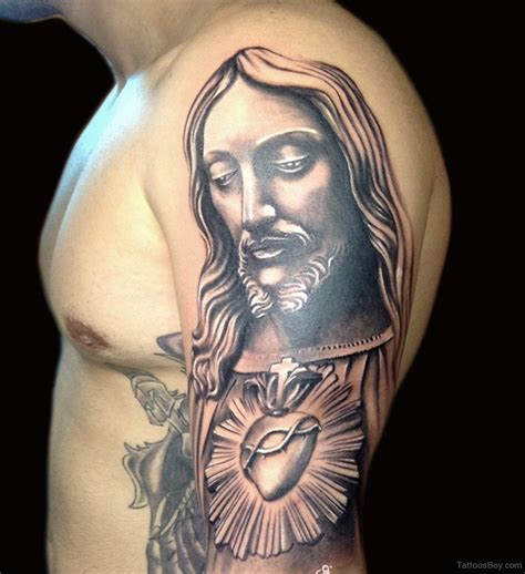 half sleeve religious tattoos for men religious jesus christian on right half sleeve