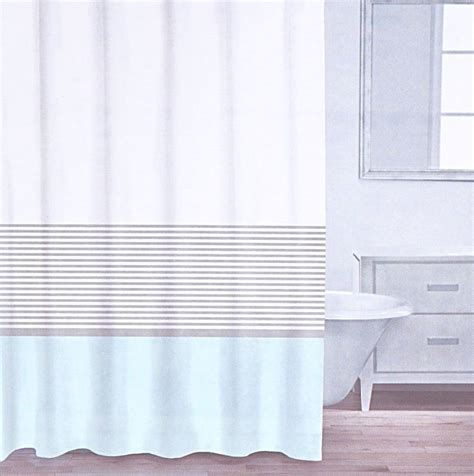 aqua and white curtains caro home cotton shower curtain wide stripe aqua turquoise