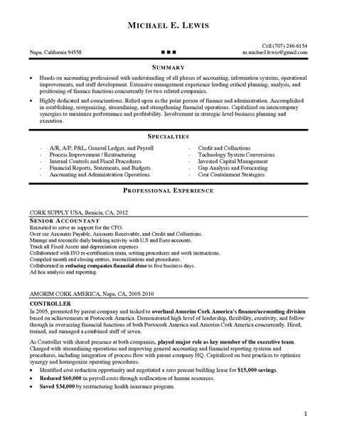 accounting supervisor resume sle sle senior accountant resume 28 images senior auditor