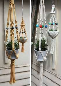How To Make A Macrame Hanger - suspended crochet planters macrame plant hangers