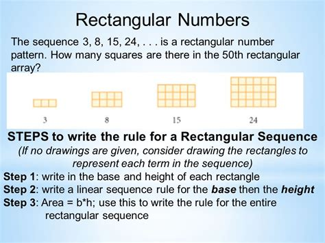 pattern of rectangular numbers square rectangular numbers triangular numbers hw 2 3 ppt
