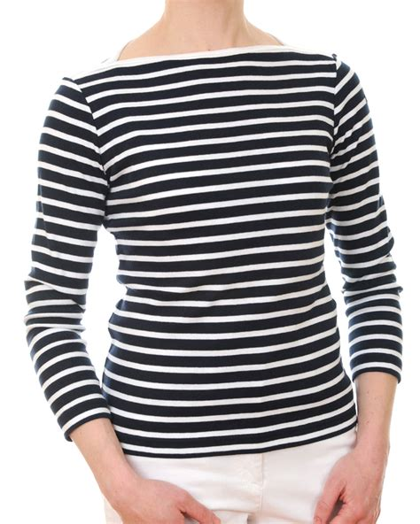 Stripe Tops s jersey navy blue white breton top breton