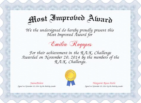 most improved certificate template most improved award certificate created with