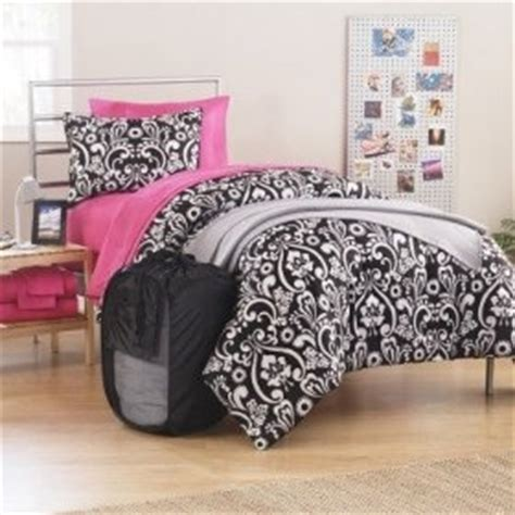 black and white comforter sets twin xl 10pc girl black pink white damask twin xl college dorm