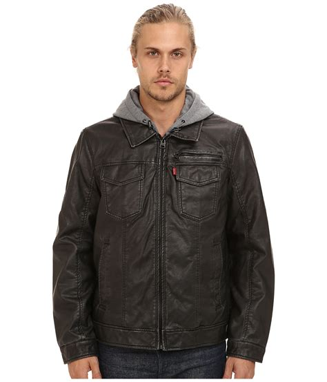 Jaket Sweater Parka 2pocket levis faux leather two pocket hoodie trucker jacket shipped free at zappos