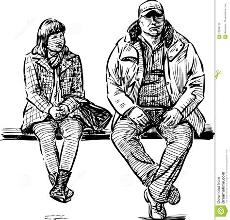 how to draw people sitting on a bench couple on a bench stock vector image of couple pair