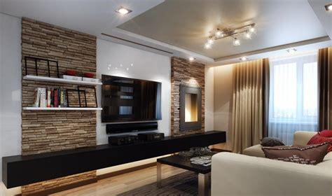 moderne wohnzimmermöbel ideen wohnzimmer modern gestalten natursteinwand schwarzer tv