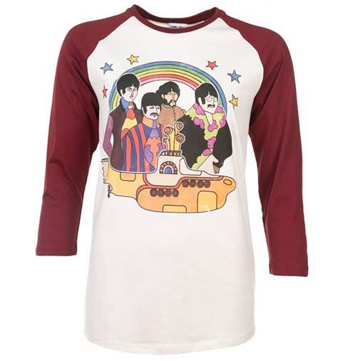 Tshirt The Beatles 5 yellow submarine the beatles white and maroon baseball t shirt
