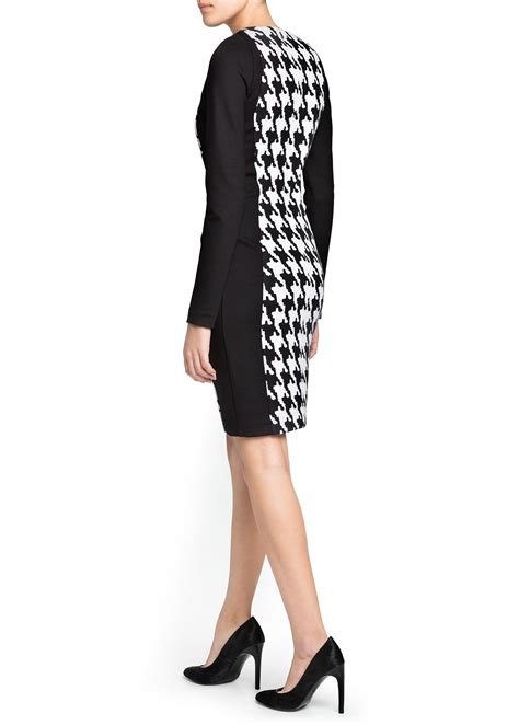 mango pencil houndstooth dress  black white lyst