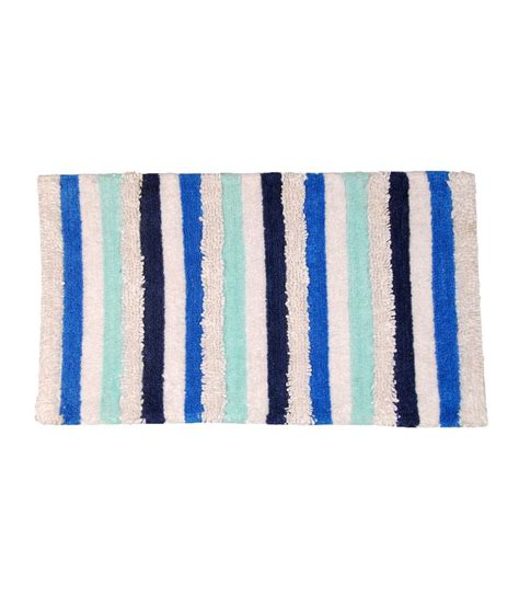 avira home blue white textured stripe cotton bath mat