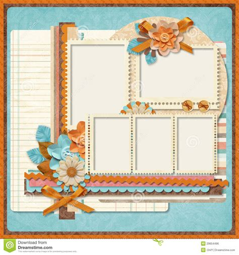 Retro Family Album 365 Project Scrapbooking Templates Stock Illustration Illustration Of Digital Scrapbooking Templates