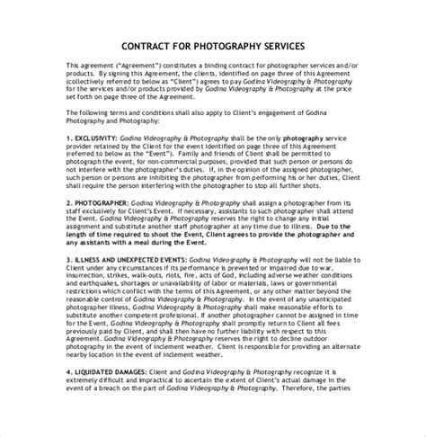 photography contract template glamorous wedding photography