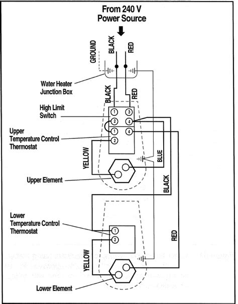 basic 240 120 volt water heater circuits at wiring diagram