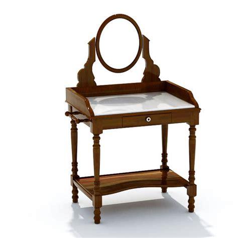 Antique Mirrored Vanity by Brown Antique Wood Mirrored Vanity 3d Model Cgtrader