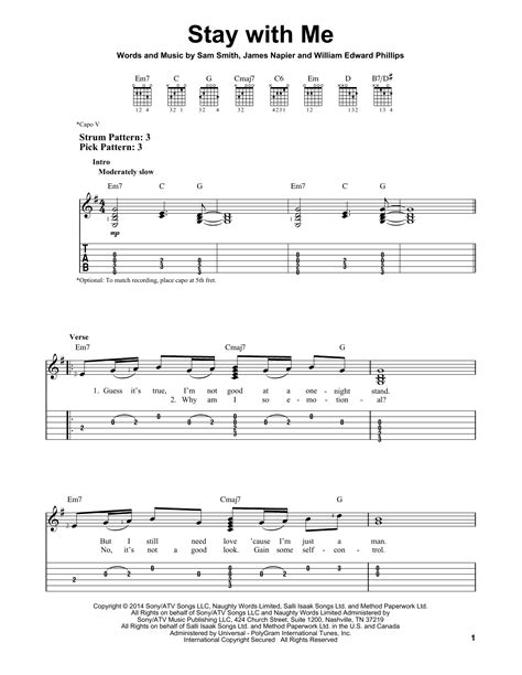 stay with me guitar tutorial stay with me sheet music by sam smith easy guitar tab