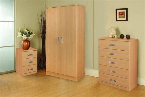 stylish oak trio set wardrobe chest of drawers and bedside