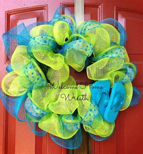 How To Make Mesh Wreaths For Front Door Deco Mesh Wreath Summer Flip Flop Ribbon Wreath Front Door Decor Initials Deco Mesh And Summer