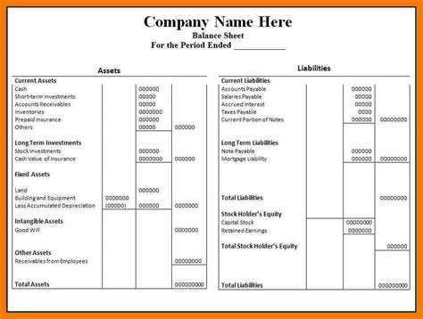 Excel Balance Sheet Template Free by 5 Balance Sheet Format In Excel Free Mailroom