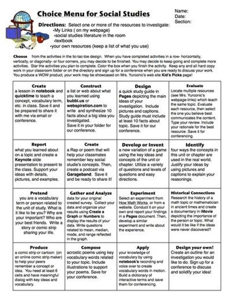 menu design lesson learning menu for sock studies social studies