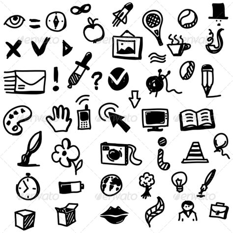 design icon with sketch hand drawn sketch icon set graphicriver
