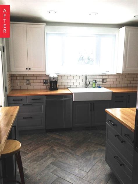 Apartment Therapy Kitchen Floor Tiles Single Wide Floors And Before After On