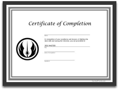 free printables star wars jedi certificate party