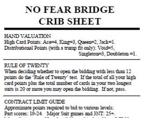Bridge Crib Sheet how to play bridge