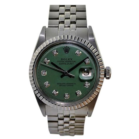 Rolex Datejust Automatic 1 rolex stainless steel green automatic wrist for sale at 1stdibs