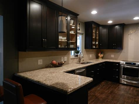 wonderful espresso kitchen cabinet brown marble counter