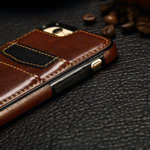 Leather Iphone 4 4s 5 5s 6 6s luxury leather wallet credit card slots cover for