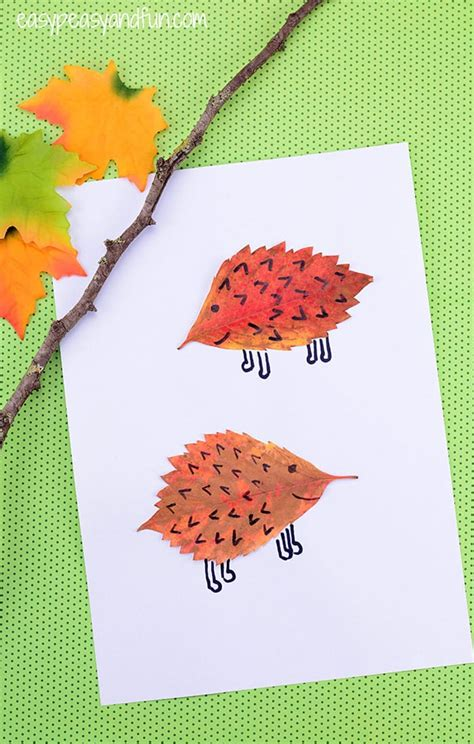 crafts with leaves for leaf hedgehogs craft easy peasy and