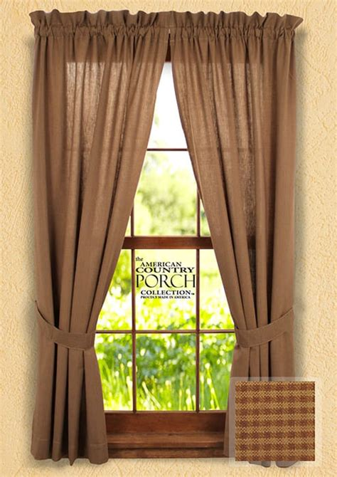 cottage drapes cottage brown minicheck tieback curtain panels