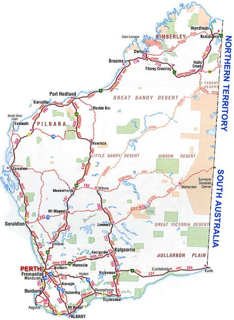 wa map western australia road map