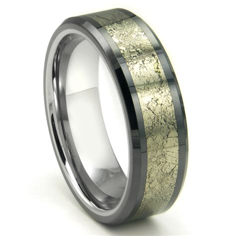 Tungsten Ring Wedding by Tungsten Carbide Golden Meteorite Inlay Wedding Band Ring