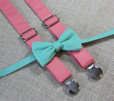 mint green bow tie and solid coral suspenders set