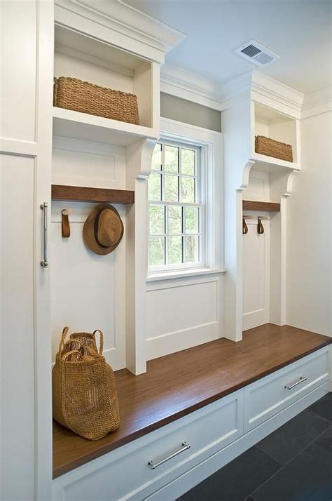 custom wood mudroom bench displays  white finish