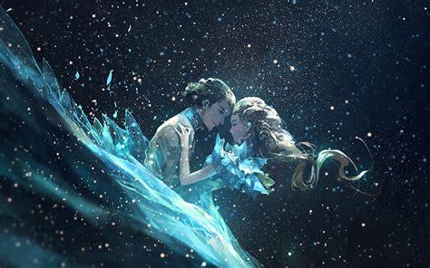 shristi the universe love backgrounds wallpapers av44 anime kiss love green girl boy illustration art wallpaper