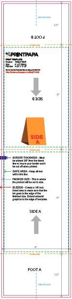 4x6 Table Tent Template by Find A Printing Template Printpapa