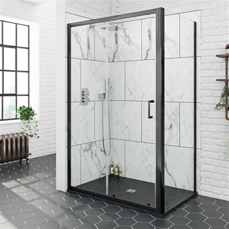 Bathroom Tile Ideas And Designs mode black 6mm sliding shower enclosure with black slate