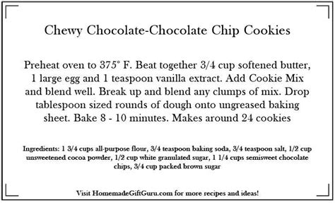 printable cookie recipes gooey chewy chocolate cookie recipe in a jar