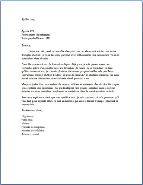 Exemple De Lettre De Motivation Québec Modele Lettre De Motivation Emploi Document