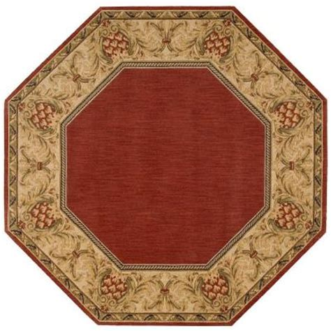 octagon rug 8 nourison vallencierre brick 8 ft octagon area rug 574268 the home depot