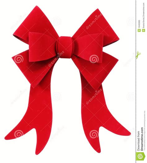 red christmas bow ribbon isolated on white stock image