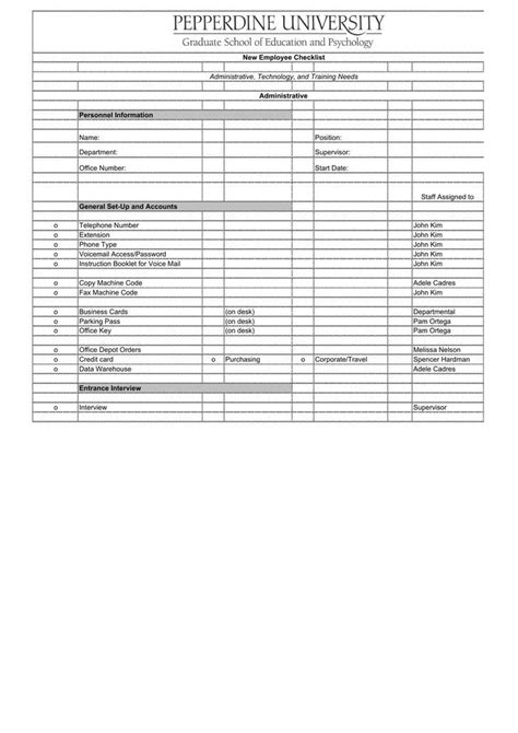 12 New Hire Checklist Template Free Download New Employee Checklist Template Excel