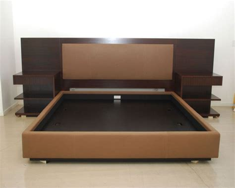 modern king platform bed frame built in side table and height headboard with king size bed