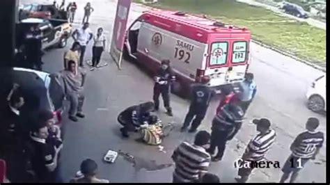 guy hit   runaway tyre  brazil street    youtube